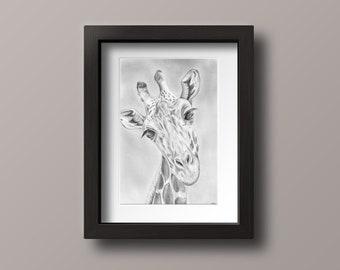 Giraffe Drawing Print - Giraffe Art - Giraffe Artwork - Giraffe Gift - Giraffe Decor - Giraffe Wall Art - Zoo Nursery Decor - Nursery Decor