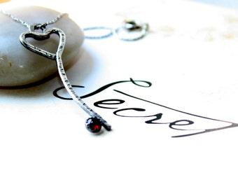 Skeleton Key Pendant, Rustic Valentines Skeleton, Marsala Pantone Jewelry, Sterling Silver Key, Secret Key, Key To My Heart