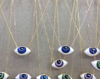 Hand painted sterling silver eye necklaces