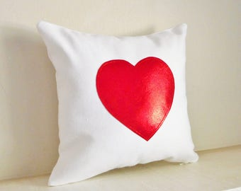 Red Heart Pillow Cover / Valentines Gift for Her, Red Metallic, Wedding Gift, Love Heart Throw Cushion, Pillow Case