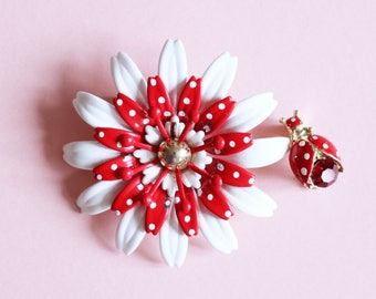 Unique 1960s Red And White Polka Dot Enamel Flower Brooch With Matching Lady Bird Pin - Made In USA