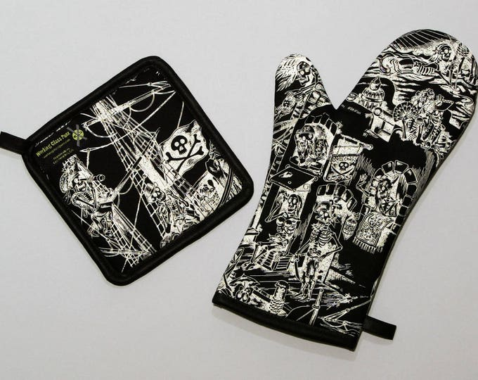 Pirate Skeletons at a Tavern, Oven Mitt and Pot Holder, Sets and Singles, Skelewags, Black and White
