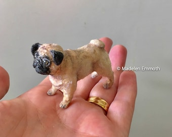OOAK Hand Sculpted Realistic Miniature pug dog Pet Animal Dollhouse 1:12th Scale