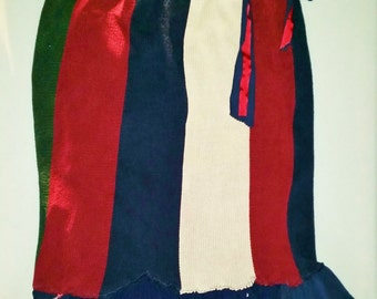 Upcycled Sweater Skirt, Red White and Blue, Repurposed Skirt, Upcycled Skirt, Ready to Ship, Size Large