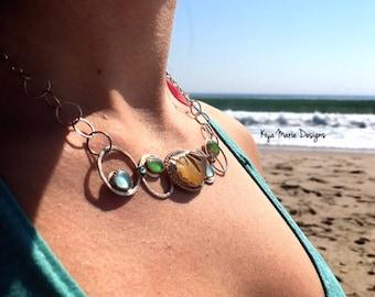 Sea Glass necklace, sea glass statement necklace, rebirth design challenge sea glass necklace, California sea glass argentium silver jewelry