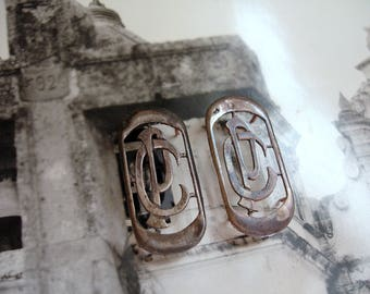 Vintage Antique French Monogram Double Monogram C P or P C Silver Plate Monogram with Patina French Circa 1900-1920