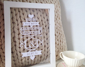 Lasercut personalised wedding gift (framed)