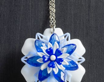 """Blue and White Vintage Passionflower Bloom Necklace with Stacked Plastic Retro Flowers on 18"""" Sterling Silver Chain Jewelry Floral"""