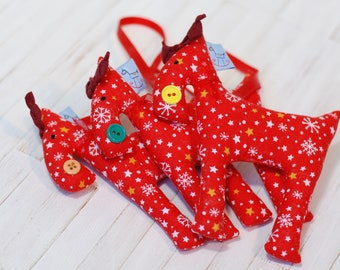 Set Three Reindeers Decoration Christmas Tree Horse Red