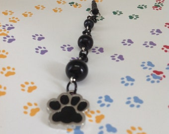 Paw print cellphone charm, phone charm, headphone jack charm, dust plug charm, phone accessories, iphone charm, ipad charm