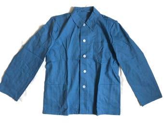 Vintage Blue WORK Jacket . Mens Chore Coat Workwear Lightweight Jacket Parka 1980s Outerwear Utility Style Jacket  Menswear, Size Large - L