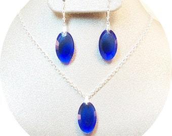 Blue Jewelry Set, Sapphire Blue Jewelry, Bridesmaid Jewelry, Mother of the Groom Jewelry, Bridesmaid Gift, Necklace Earrings Set, Bridal