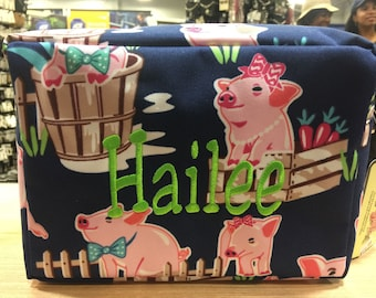 Pig Print Personalized Monogrammed Cosmetic Case Make Up Bag Toiletry Bag