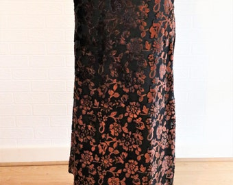 Gina Bacconi Bronze Brown Midi Length Skirt/Embossed Flower Pattern/Elasticated/UK Size 12/Retro Skirt/1990s/Co-ordinating item in shop