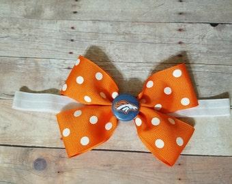Denver Broncos headband-DENVER Broncos hair bow-Broncos headband for baby-denver broncos headband for toddler-denver broncos hair clip
