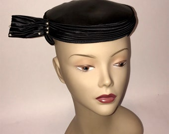 Vintage 1950s Black Satin and Pearl Pillbox Hat Unusual