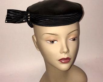 Vintage 1950s Black Satin and Pearl Pillbox Hat Unusual