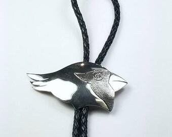 Native American Navajo handmade Sterling Silver Cardinal Bolo Tie
