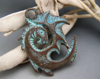 Spiral Dragon Pendant Mykonos Greek Copper Antiqued Green Turquoise Double Sided Naos