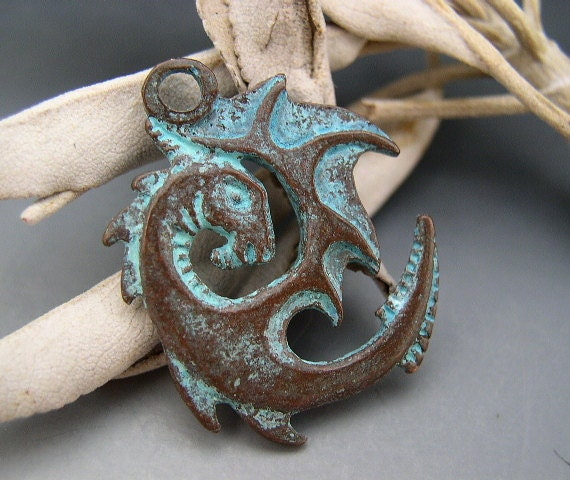 turquoise unusual green very large pendant