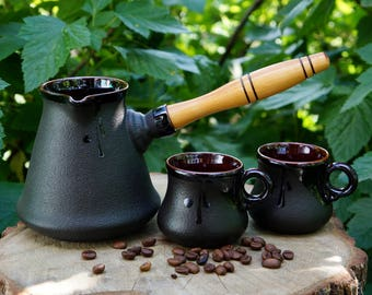 Ceramic coffee set Turkish coffee pot Coffee maker Girlfriend gift Black coffee set Father gift Gift for brother Friendship For boyfriend