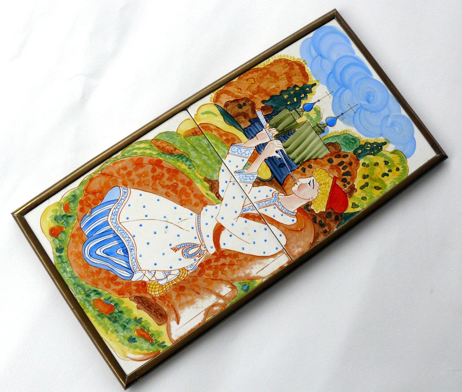 Jahrgang Wand-Dekor Orange Dekor Keramik Wandbilder