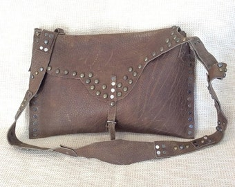 15% OFF SALE Vintage custom made studded taupe leather flap messenger bag crossbody