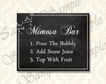Mimosa Bar Sign, Printable Champagne Bar Sign, Mimosa Bar Instructions, Chalkboard Sign, Bubbly Bar Signs 5x7 and 8x10 included - 992