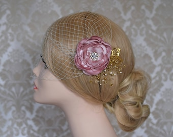 Wedding Veil, Birdcage Veil, Bridal Headpiece, Wedding Fascinator, Bridal Hair FLower, Bandeau Wedding Veil, Flower Veil, Flower Hair Clip