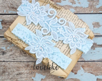 Wedding Garter Set ,Light Blue Beaded Flower Lace Wedding Garter , Light blue Lace Garter , Toss Garter , Bridal Wedding Garter-1826