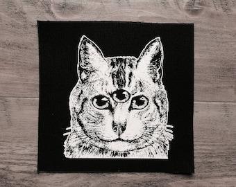 Coudre les imprimés en sérigraphie sur toile noir et blanc • • félin familier grand patch