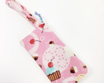 Cupcakes on Pink Zippered Pouch~Sunglasses Pouch ~ Free Shipping in US