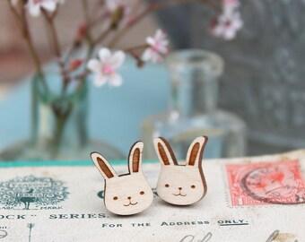 Laser Cut Wooden Bunny Rabbit Stud Earrings