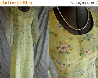 "ON SALE 70s Dress //  Vintage 70s Yellow Floral Maxi Dress with Sheer Sleeves Size M 28"" waist"