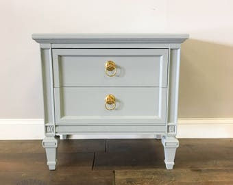 AVAILABLE: Grey Lacquer Nightstand