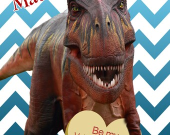 """Kids Dinosaur Valentines Day Card -- printable sheet of 8 2.5x3.5"""" wallet sized cards"""