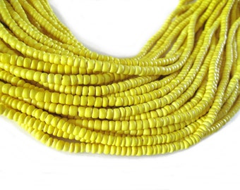 Coconut bead 150 yellow wood Beads - Coconut Rondelle Disk Beads 4-5mm  (PC219K)