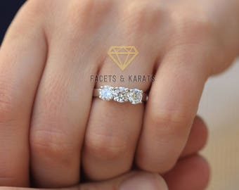 1.5 Carat Promise Ring, Engagement Ring, Past Present Future Classic 3 Stone Engagement Ring, 14k Solid White Gold by FACETS and KARATS