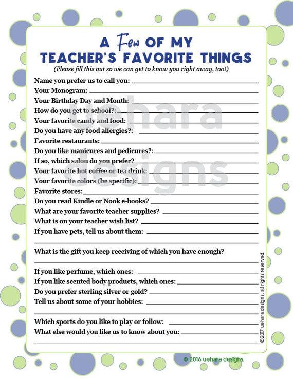 List of favorites questionnaire