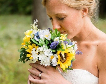 Reserved Sunflower wildflower and lilac Bouquet and boutonniere