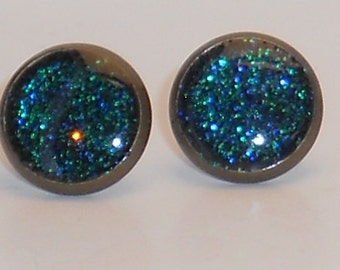 Mermaid Tail Green Blue Glitter 10mm Post Earrings