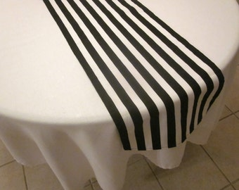 Black and White Stripe Table Runner, New Years Eve Party,  Wedding Table, Bridal Shower, Baby Shower, Graduation,  Pirate Party, Birthday