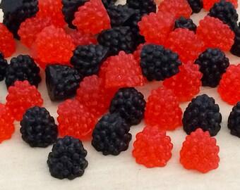 Blackberry & Raspberry Cabochon Set (25 pcs by Random) Kawaii Fruit Cabochons Plastic Fake Food Dollhouse Miniatures