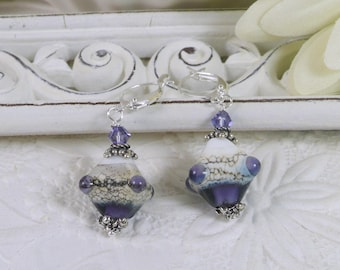 Lamp Work Earrings Purple and Sterling Silver Gifts for Her