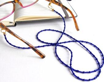 Seed Bead Glasses Lanyard, Blue Lanyard, Glasses Holder, Eyeglass Lanyard, Glasses Holder Necklace, Reading Glasses Chain, Eyeglass Chain