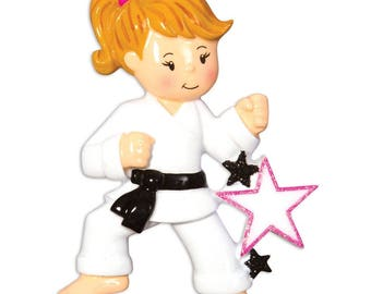 Karate Ornament  Karate Girl  Martial Arts Ornament   Personalized Christmas Ornament