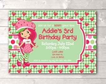 Strawberry Shortcake Inspired Birthday Invitation, Strawberry Shortcake Inspired Party Invitation