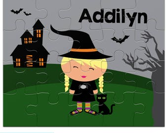 Halloween Puzzle - Cute Witch - Personalized Puzzle for Kids - Jigsaw Puzzle with Child's Name - 20 pieces, 8 x 10 inches