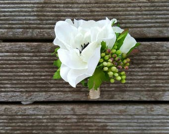 White Anemone Boutonniere - Wedding Buttonhole - Silk Roses Flowers Artificial Grooms Lapel