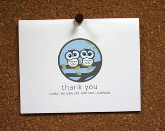 Set of 10 / Custom Wedding Stationery / Bridal Shower Thank You Cards /  Shower Thank Yous / Owls in Tree / Perfect Wedding Gift